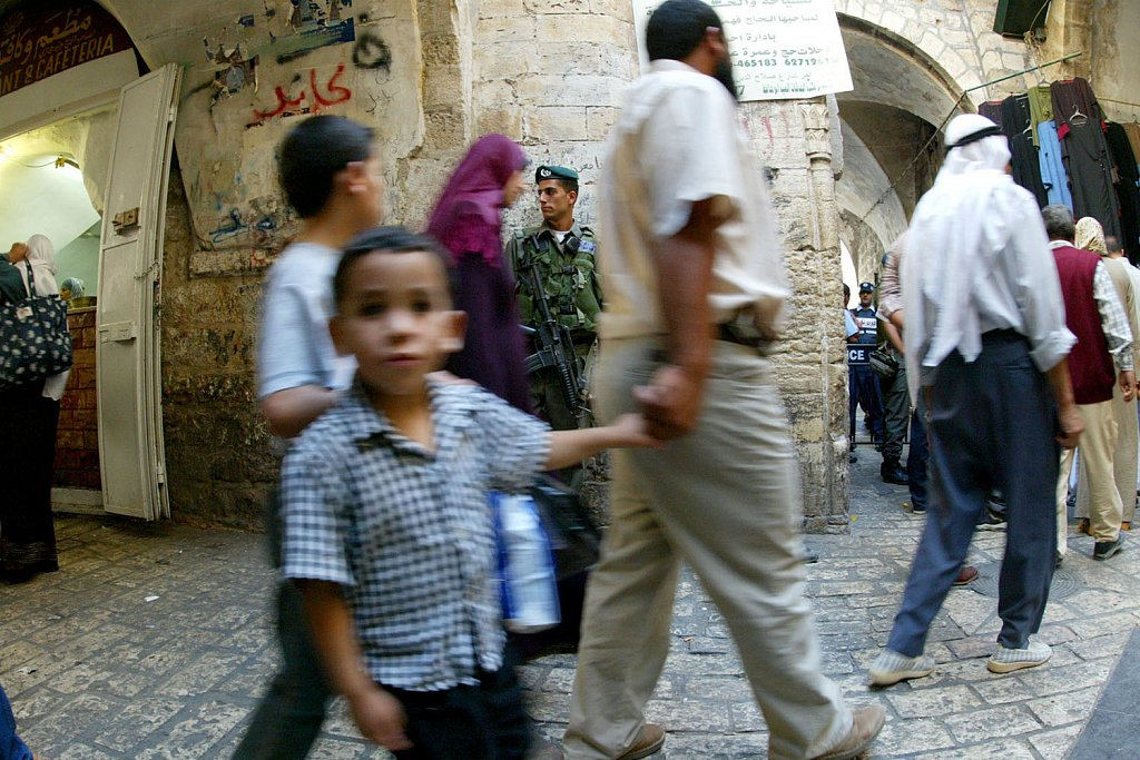 Citizens under control, old city Jerusalem