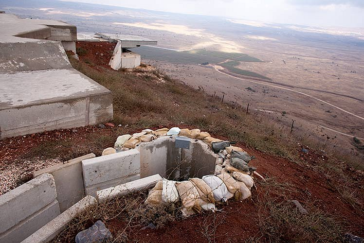 Golan Heights, bunker and Israeli military area on Mount Ermona