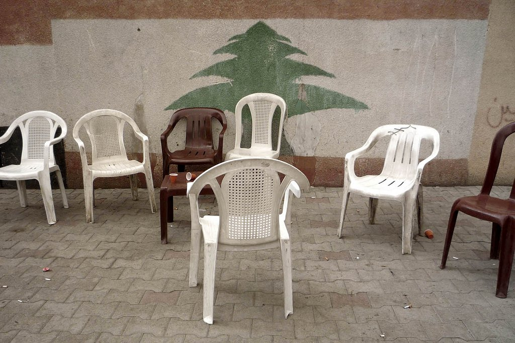 The plastic chair, a Lebanese symbol
